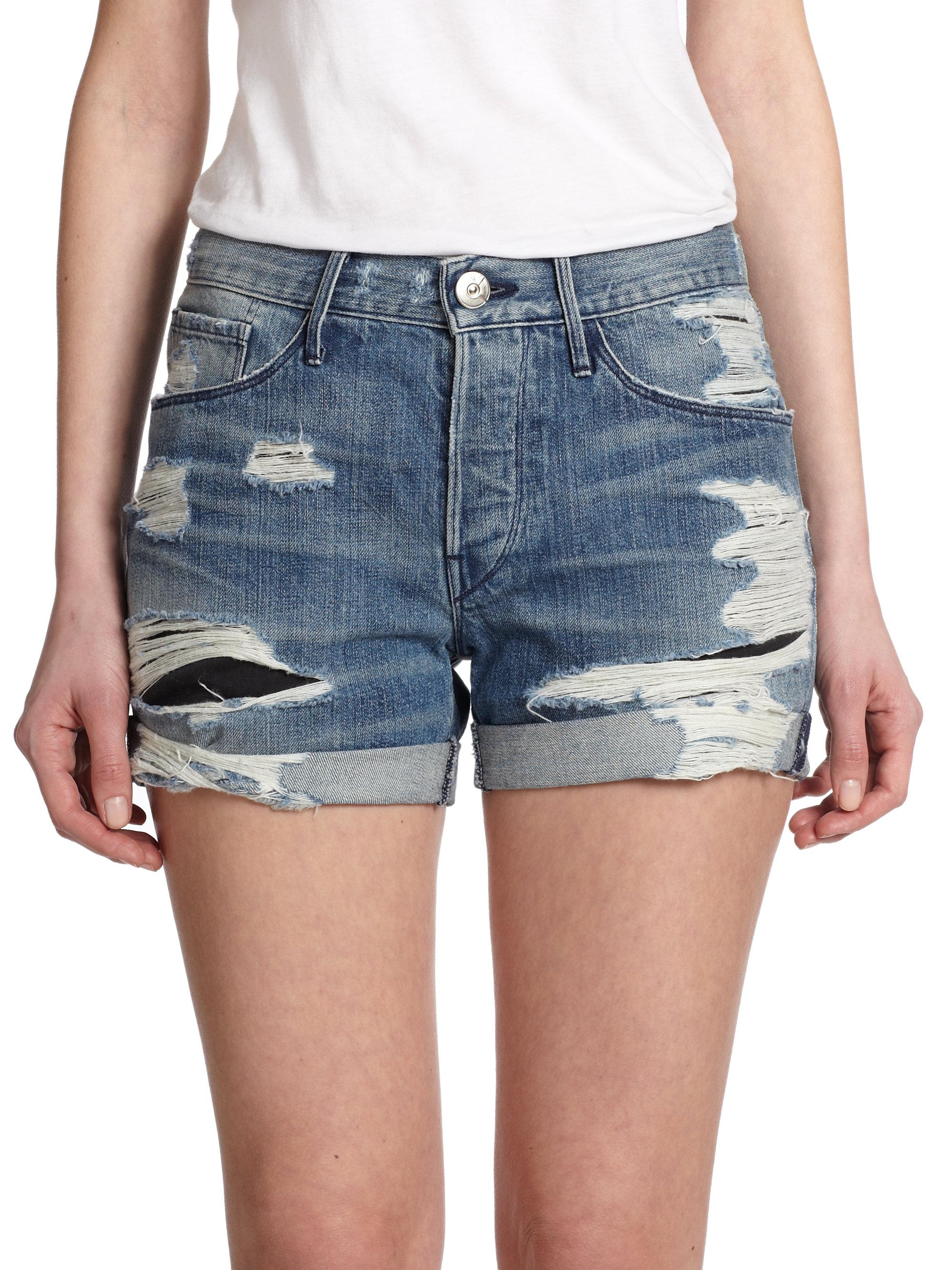 3x1 Distressed Denim Shorts in Blue | Lyst