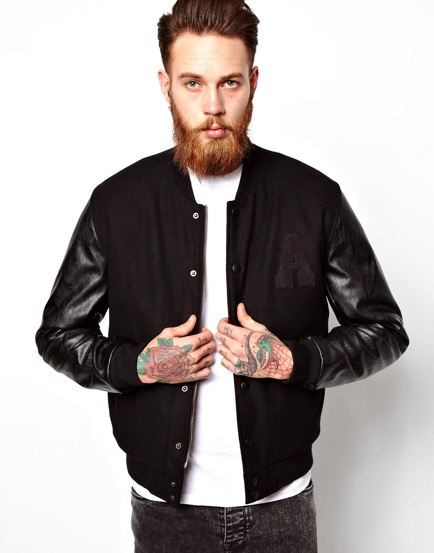 Asos Bomber Jacket with Leather Look Sleeves in Black for Men | Lyst