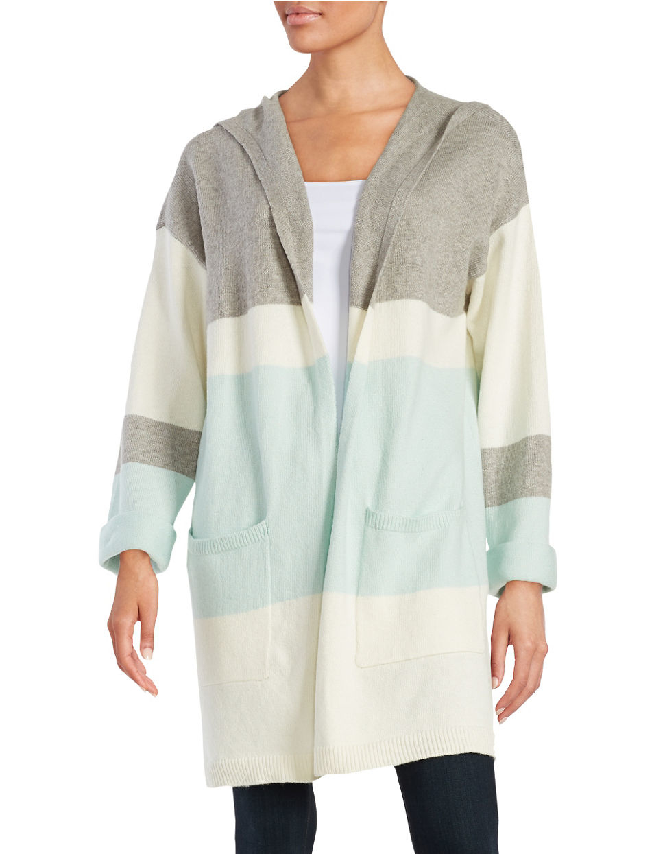 Vince camuto Petite Hooded Colorblocked Sweater in Blue | Lyst