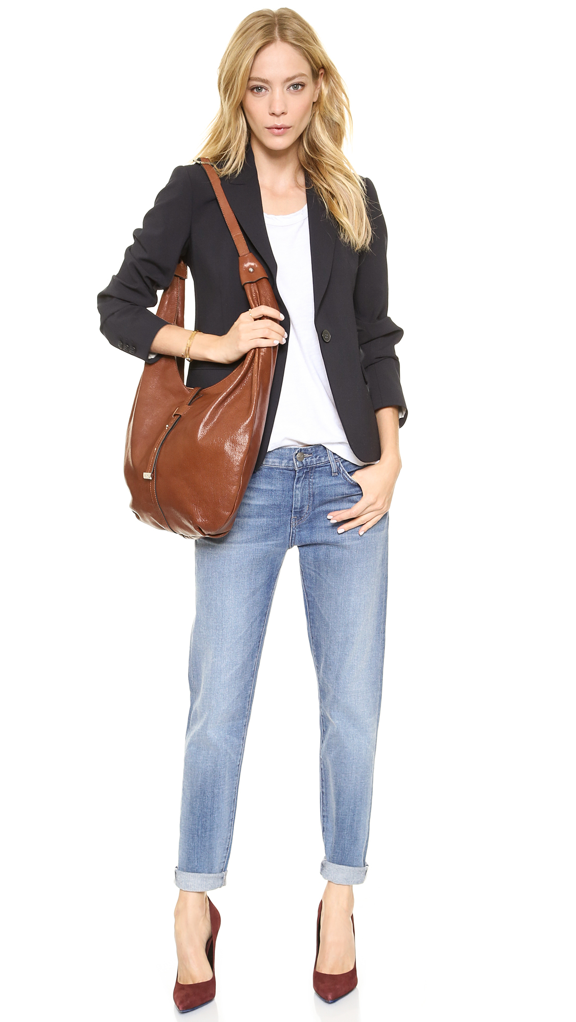 Halston City Casual Hobo Bag Caramel in Brown | Lyst