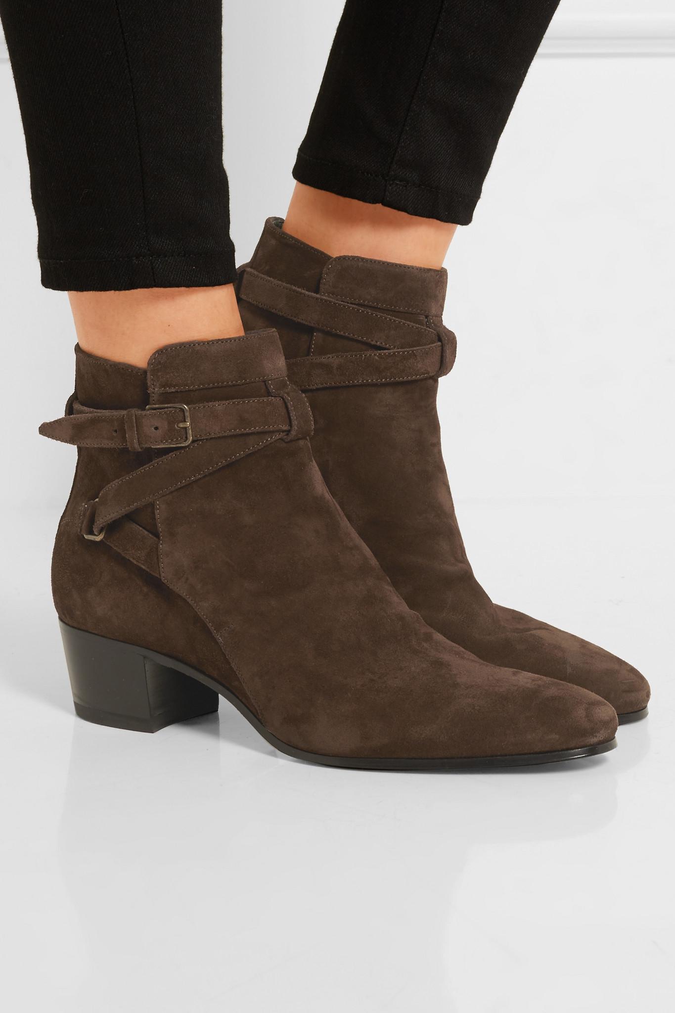 clearance shopping online great deals online Saint Laurent Suede Ankle-Strap Booties 24xlJC