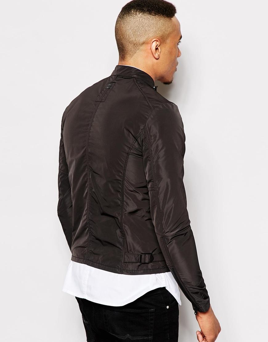 g star raw biker jacket edla carbourne nylon in black for men lyst. Black Bedroom Furniture Sets. Home Design Ideas