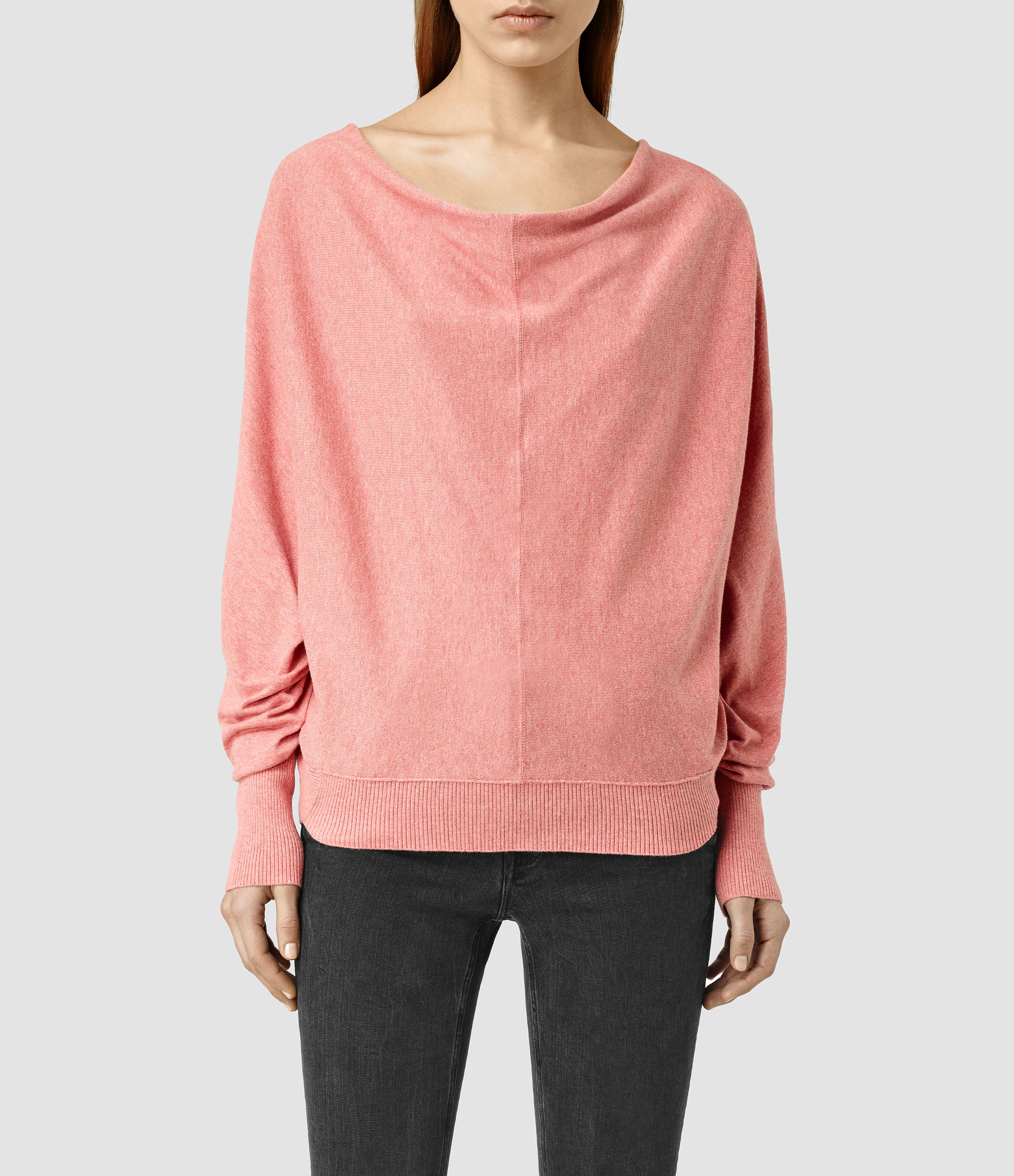 Allsaints Elgar Cowl Neck Sweater Usa Usa in Pink | Lyst