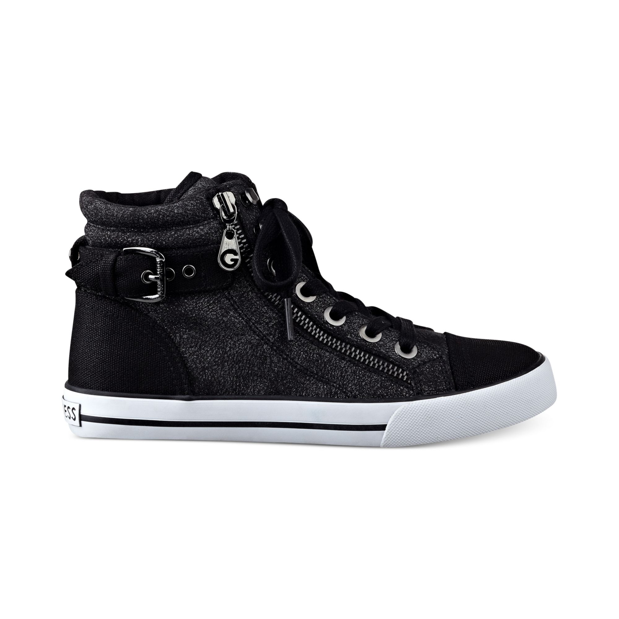 g by guess women 39 s olama high top sneakers in black lyst. Black Bedroom Furniture Sets. Home Design Ideas