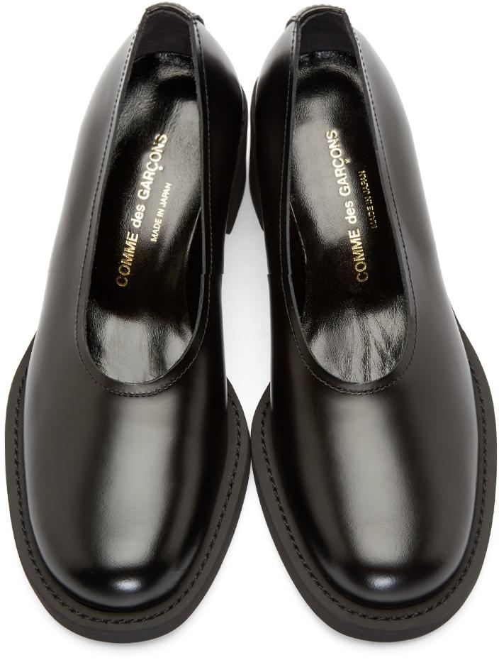 70628f14fc5f Comme des Garçons Black Leather Slip on Heels in Black - Lyst