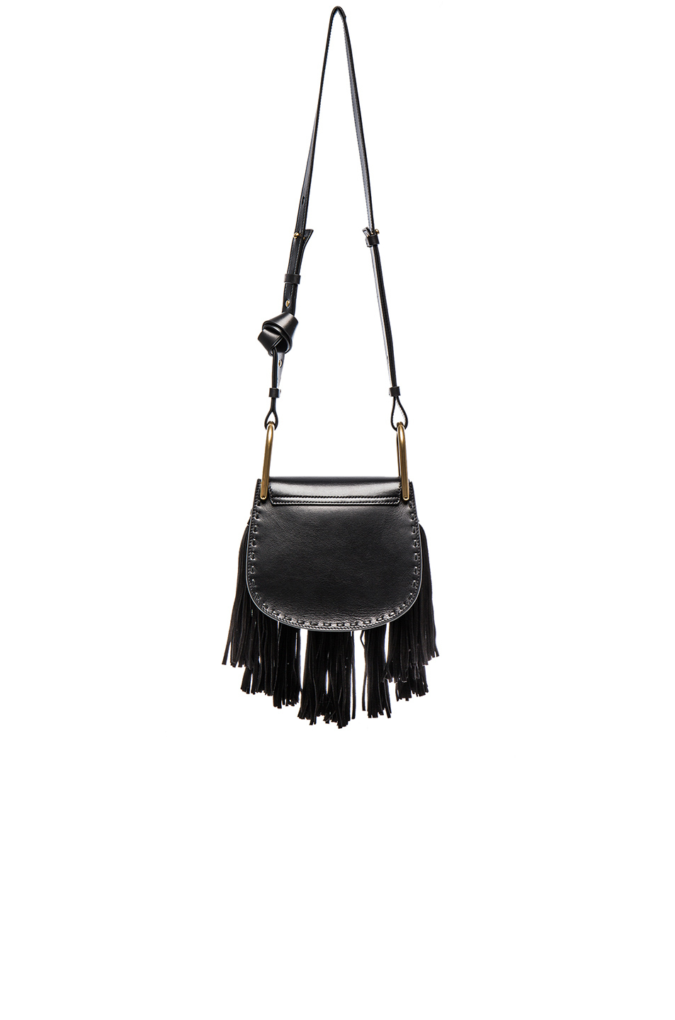 Chlo�� Hudson Mini Braided Leather And Suede Bag in Black | Lyst