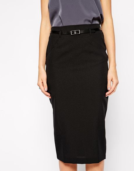 asos exclusive belted pencil skirt in midi length in