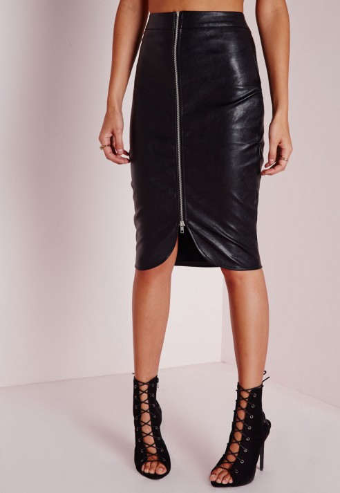 Missguided Faux Leather Zip Front Midi Skirt Black in Black | Lyst