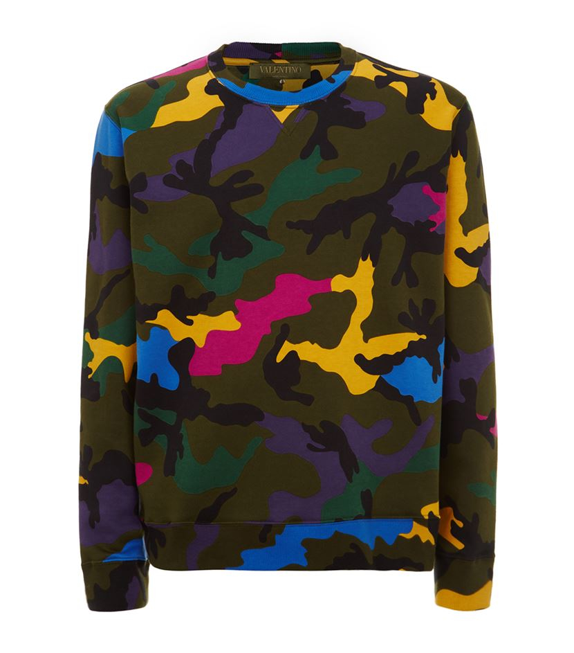 Valentino Multi Coloured Camouflage Sweater In Green For Men Lyst