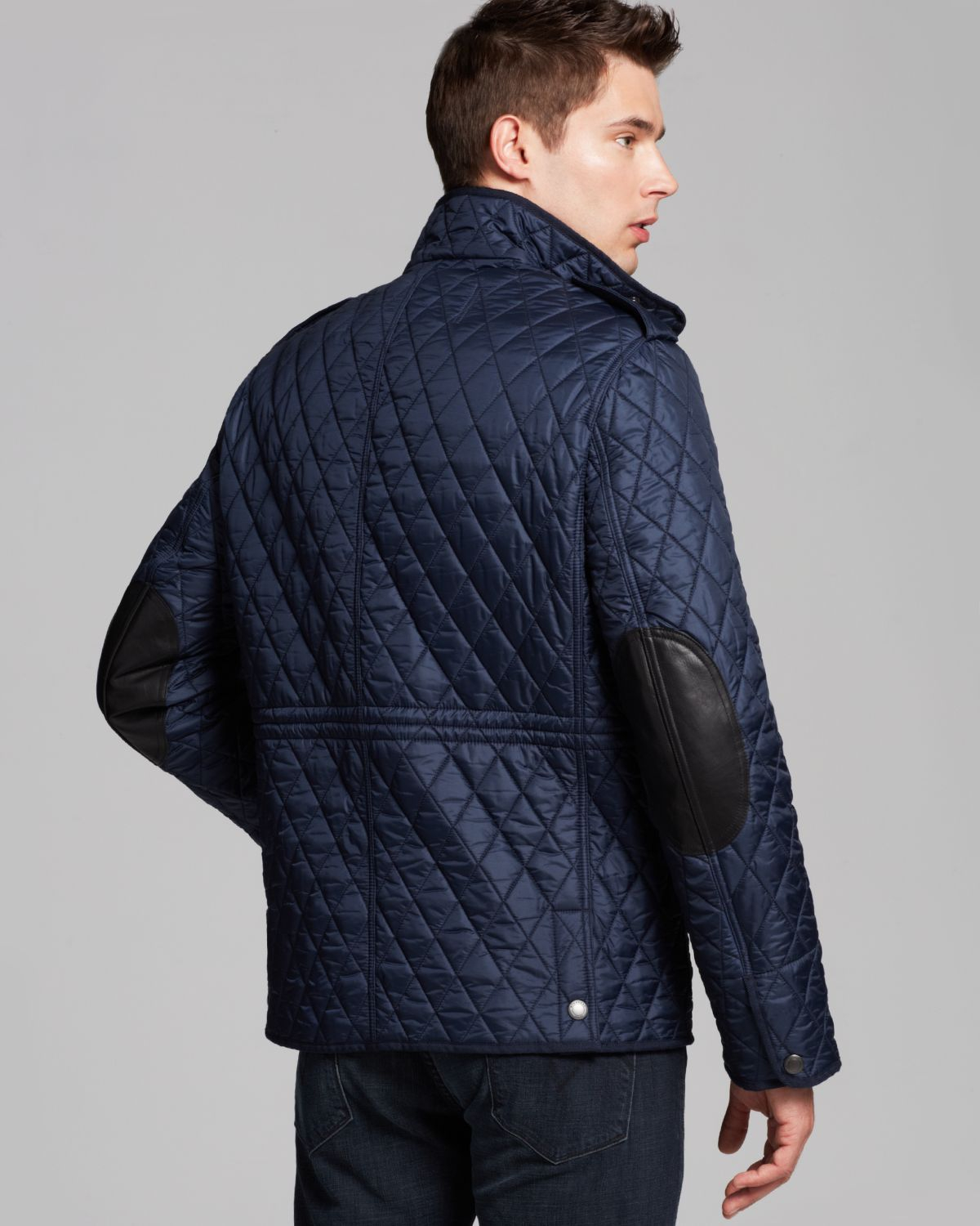 Burberry Brit Russel Diamond Quilted Jacket In Blue For