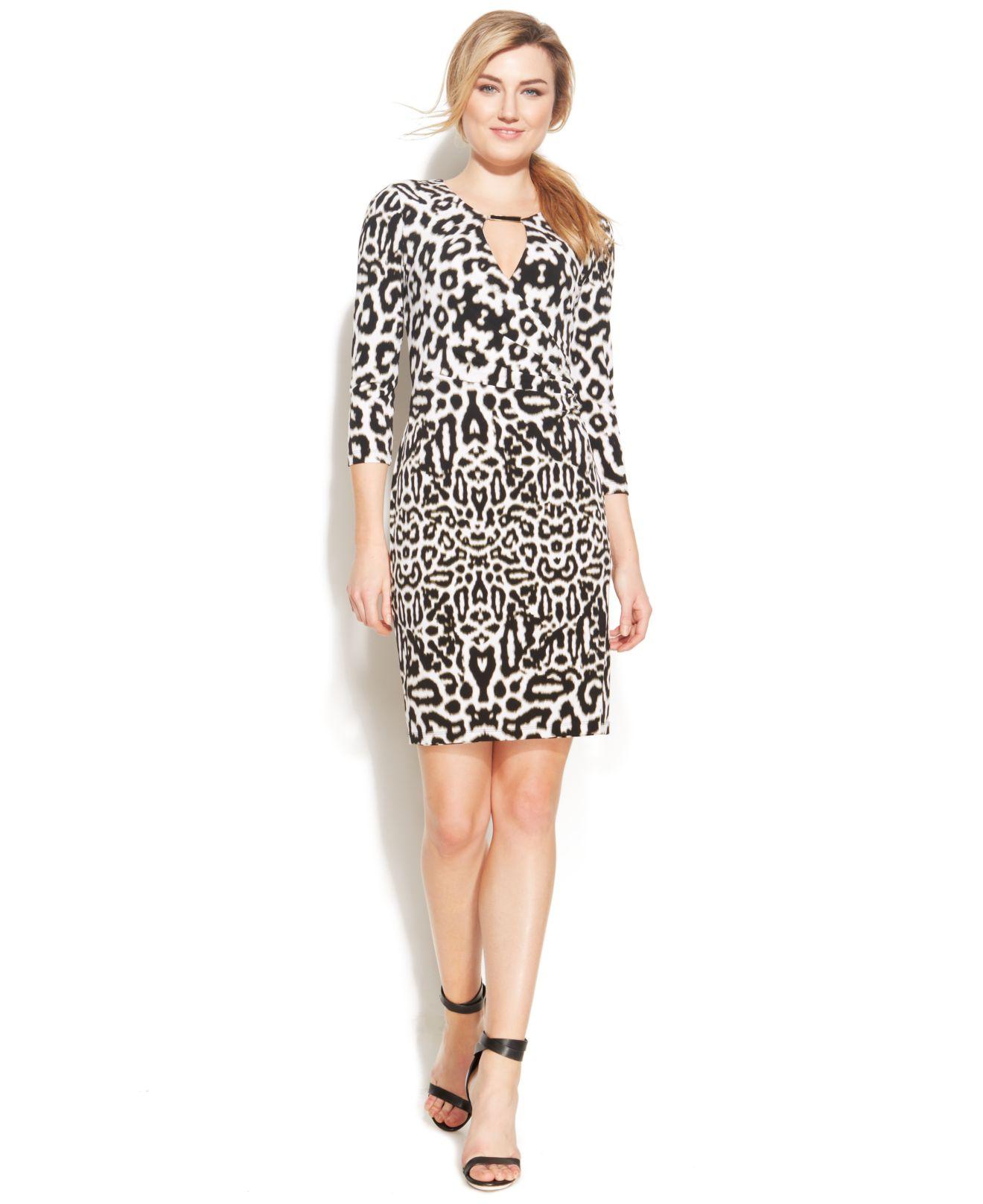 Calvin Klein Leopard Print Keyhole Faux Wrap Dress Lyst