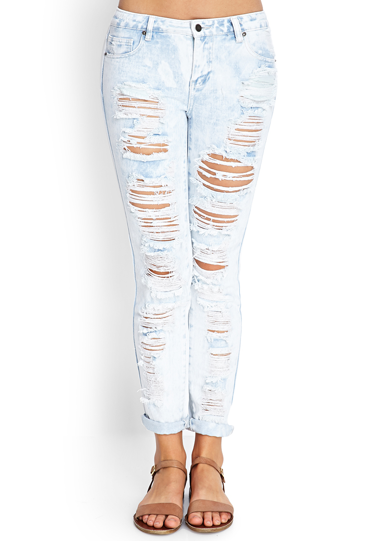 Gallery - Forever 21 Ripped Moment Skinny Jeans In Blue Lyst