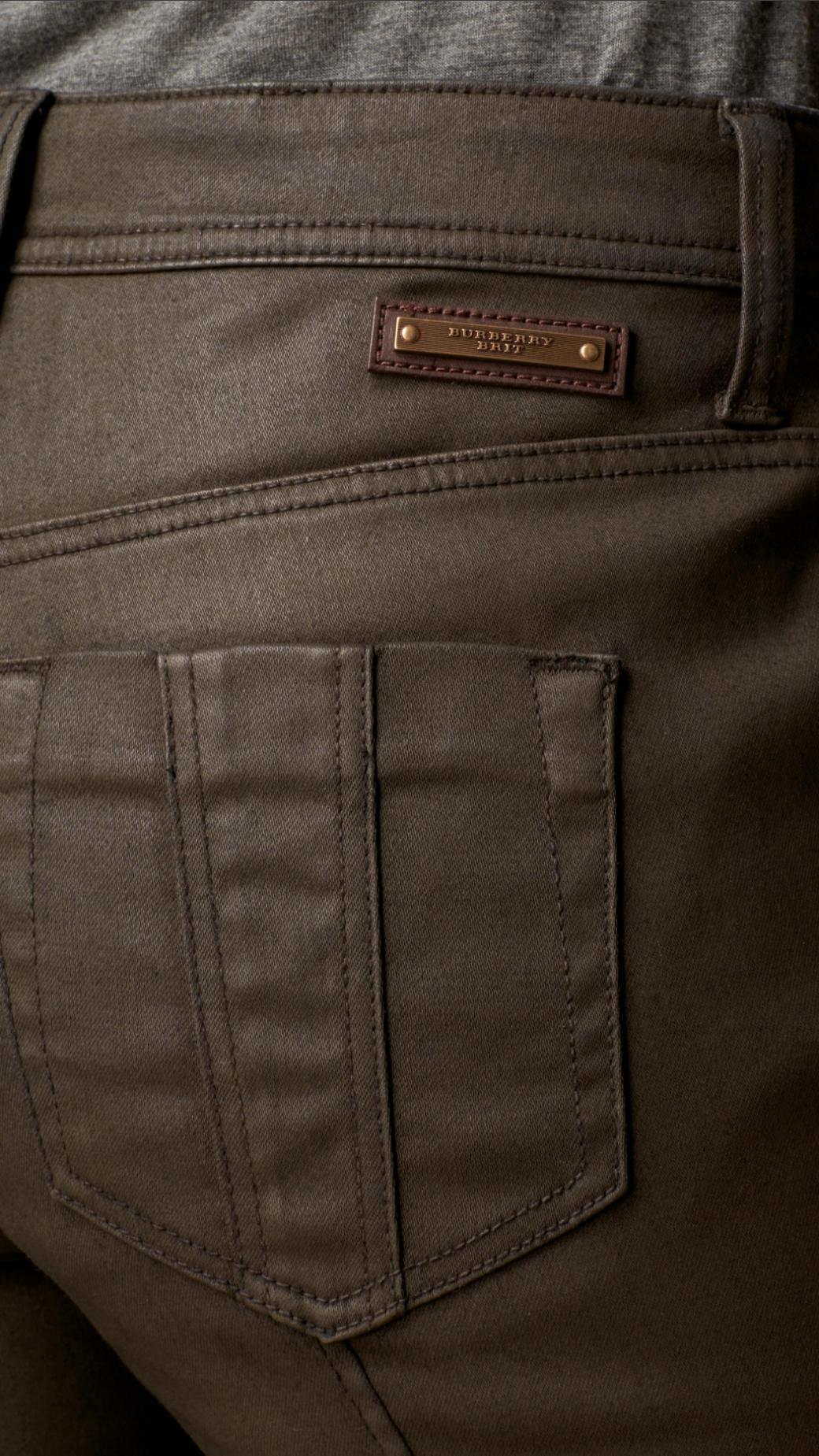 Khaki coated skinny jeans