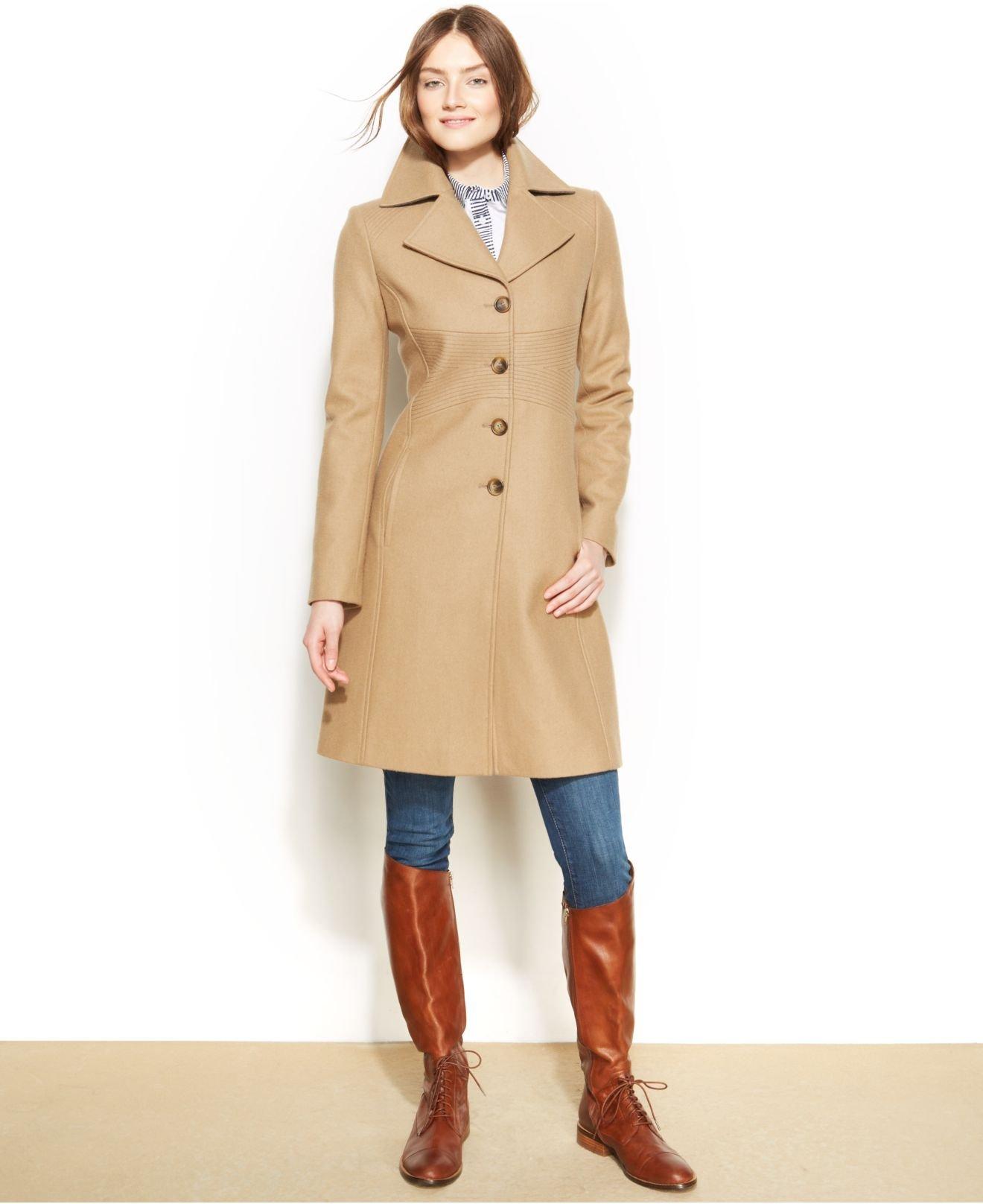 Tommy hilfiger Wool-Blend Walker Coat in Natural | Lyst