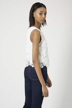 f784e58a101b4 Lyst - TOPSHOP Tall 3D Lace Shell Top in White