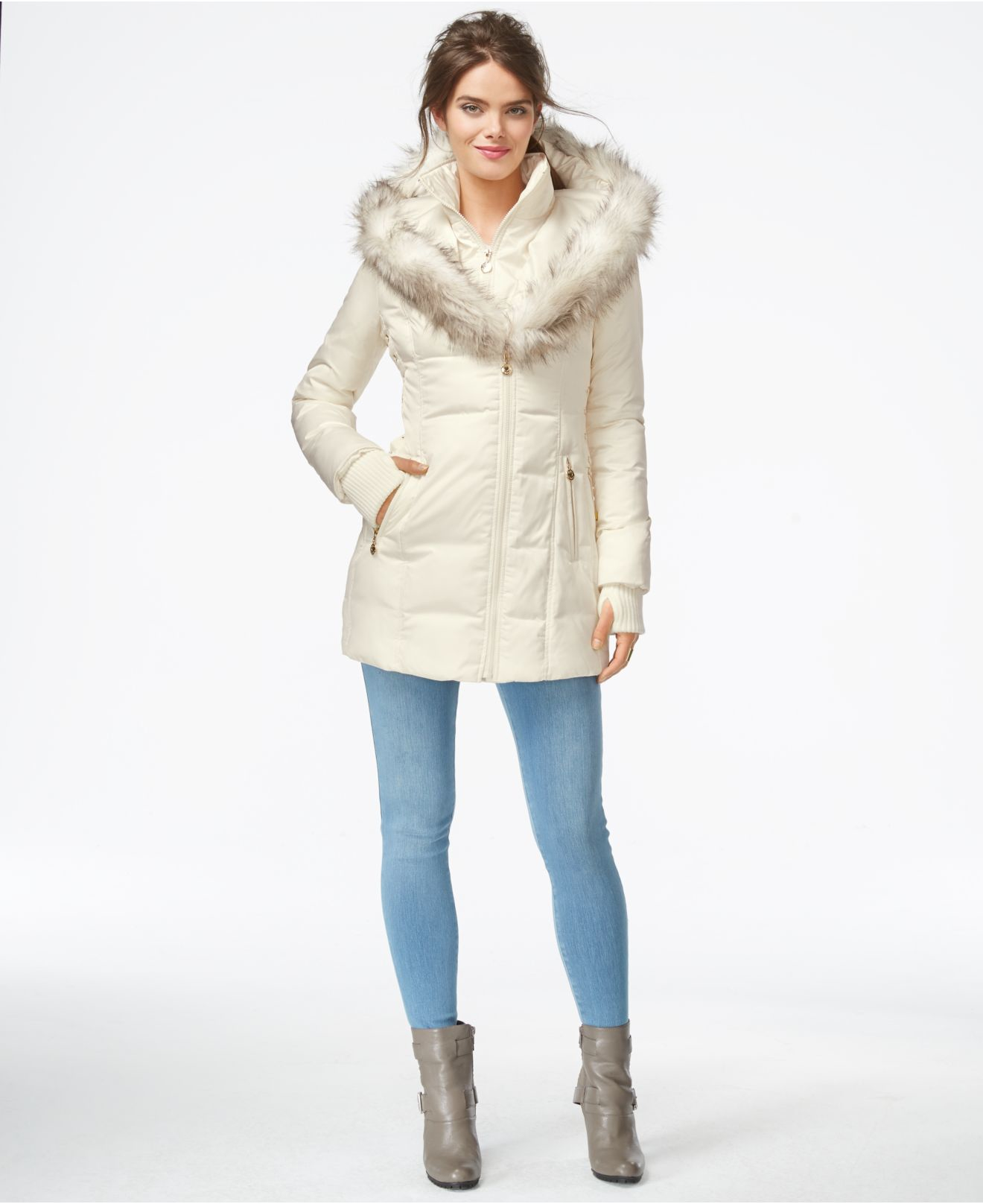 Krush Zip Front Puffer Coat With Faux Fur Hood. Layer on sleek, cozy and comfortable style with this ultra chic puffer coat. Punctuated by a faux fur hood for a decidedly luxe touch, this.