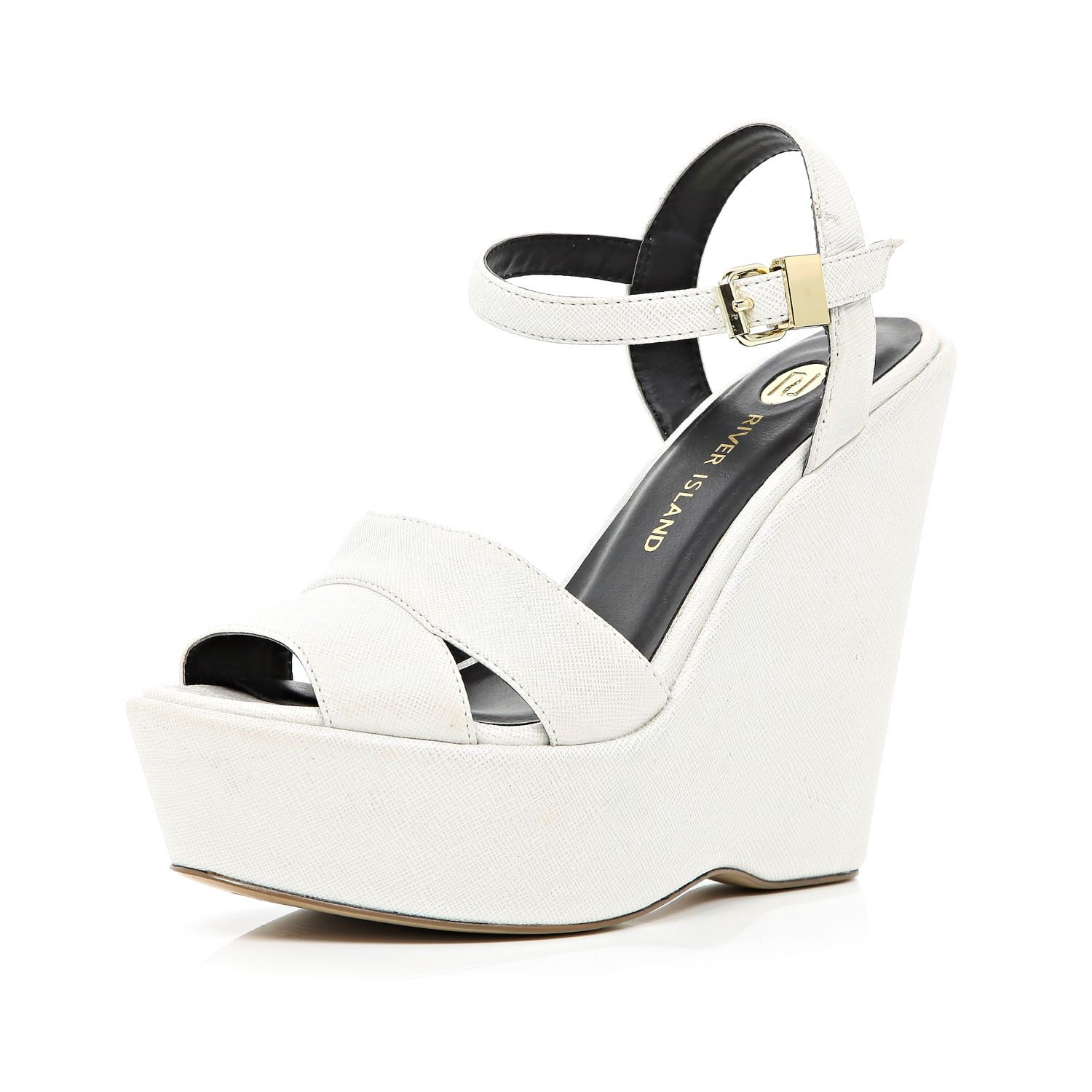 fdb54a49330 River Island White Wedge Sandals in White - Lyst