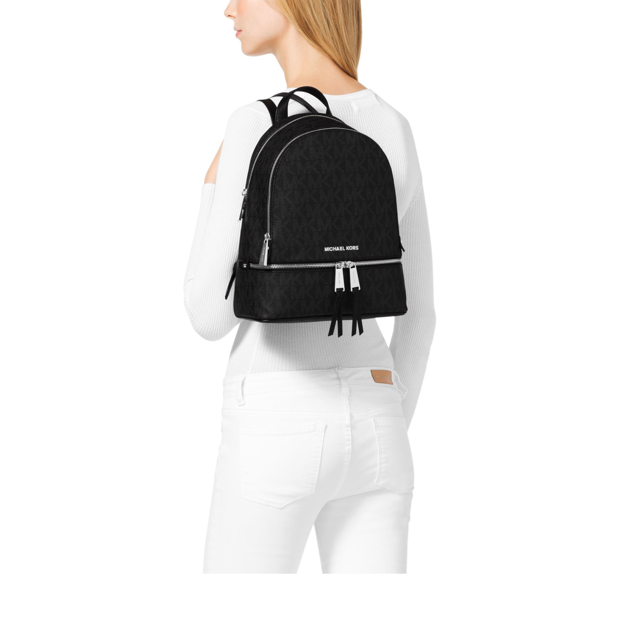 b4f4eb21d0734 Lyst - Michael Kors Rhea Medium Logo Backpack in Black