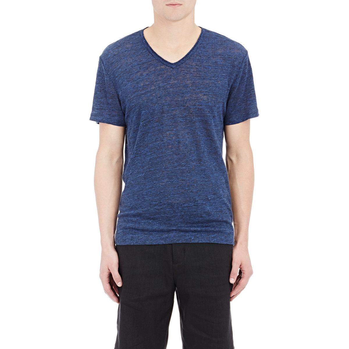 Vince men 39 s linen v neck t shirt in blue for men lyst for Vince tee shirts sale