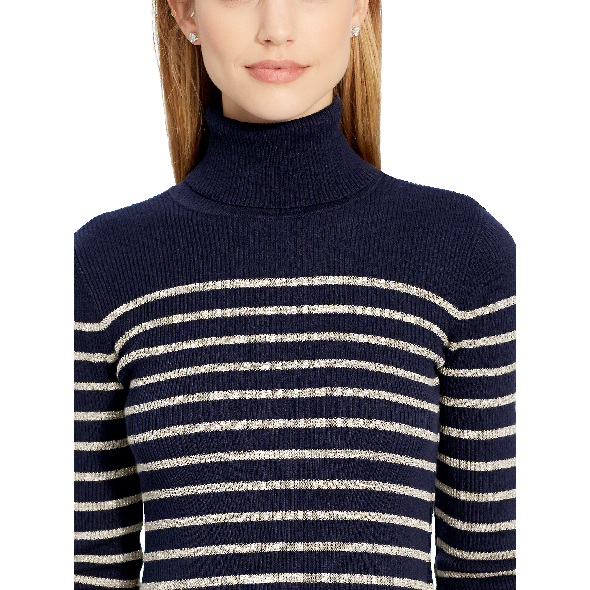 Ralph lauren Striped Turtleneck Sweater in Blue | Lyst