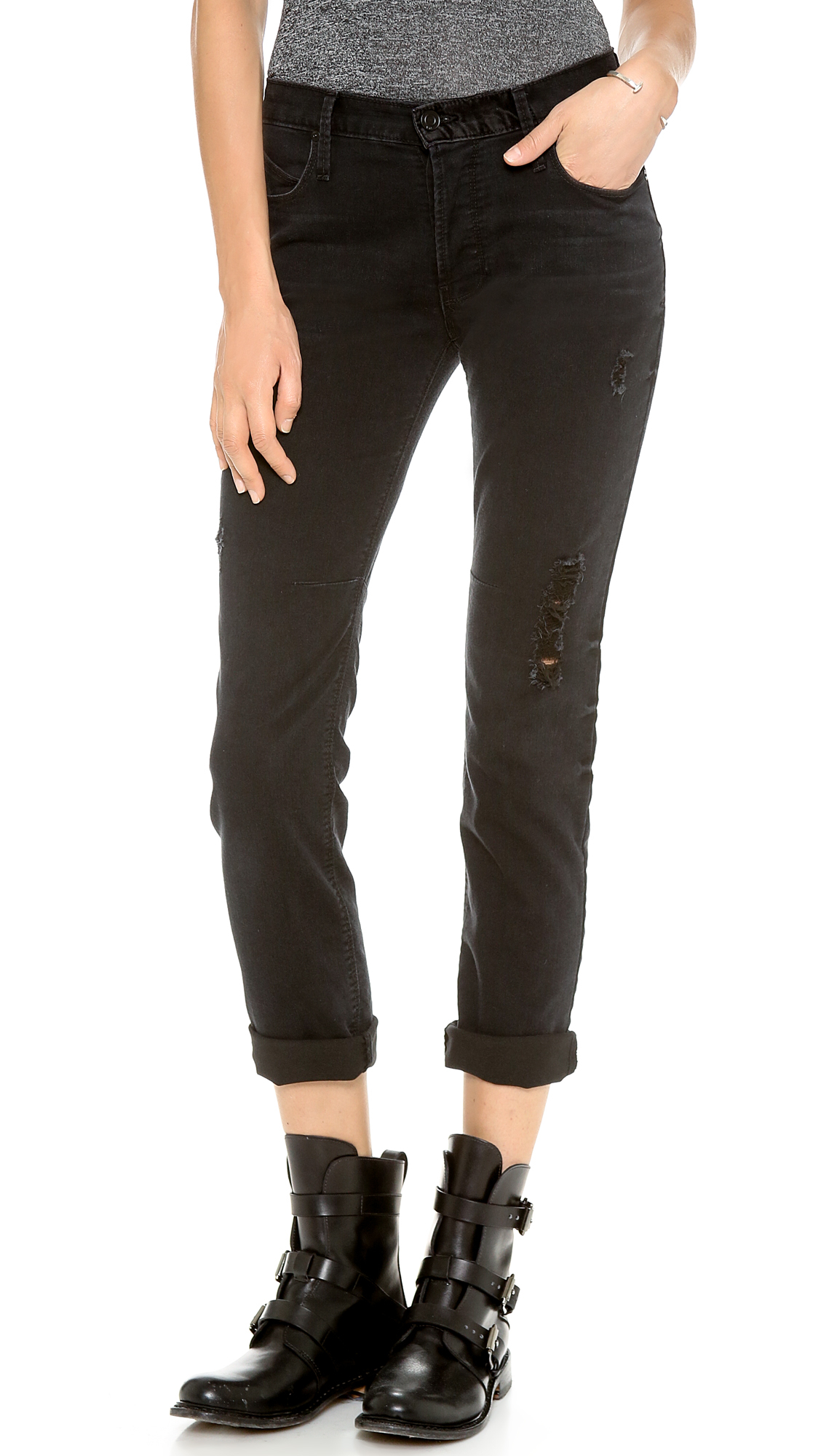 Rta Destroyed Skinny Boyfriend Jeans in Black | Lyst