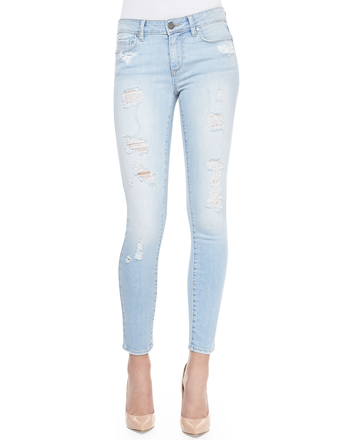 Paige Verdugo Cropped Skinny Jeans Naomi Deconstructed in Blue | Lyst