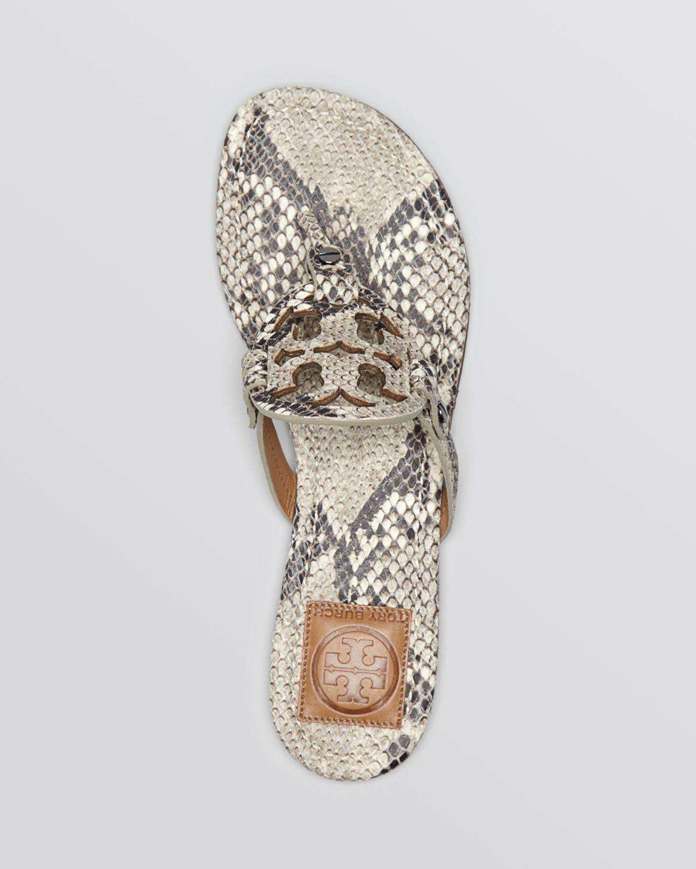 6cc4eee10b3e94 Lyst - Tory Burch Flat Sandals Miller Roccia Snake Print in Natural