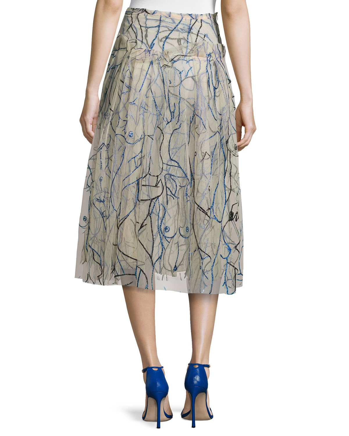 Christopher kane Glitter Tulle Nude-drawing Print Midi Skirt in ...