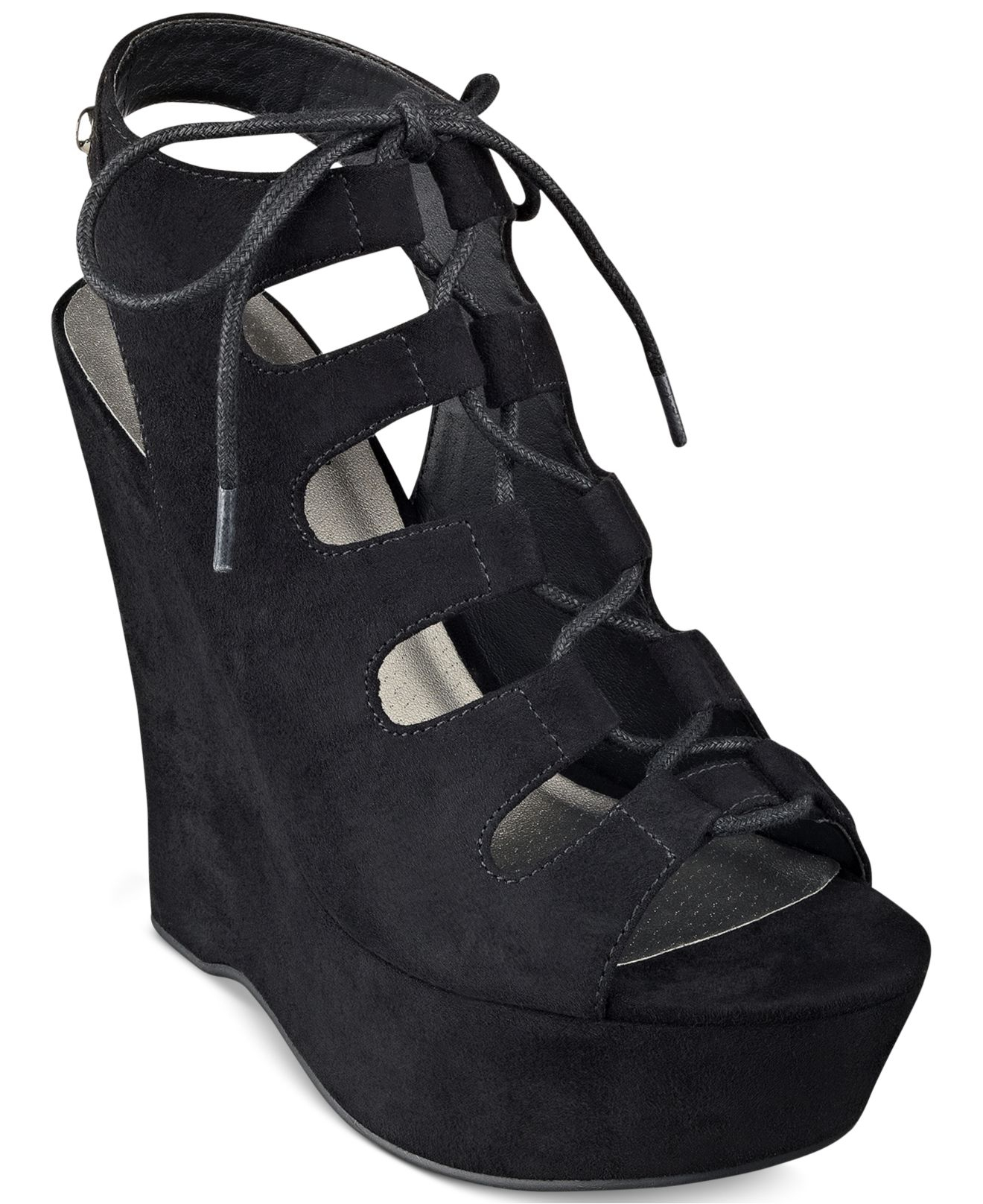 e0612805c193 Lyst - G by Guess Hexen Lace-up Platform Wedges in Black