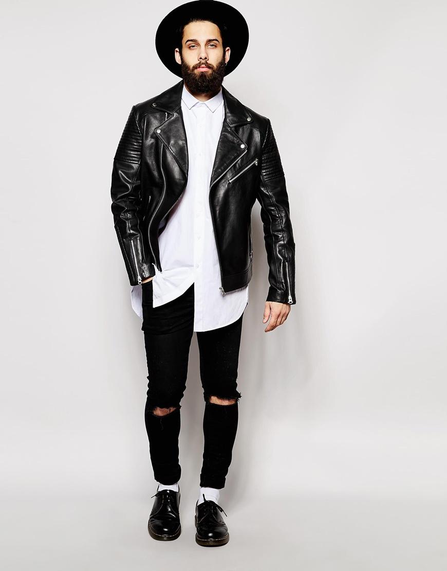 Leather Jacket Urban River Island Mens