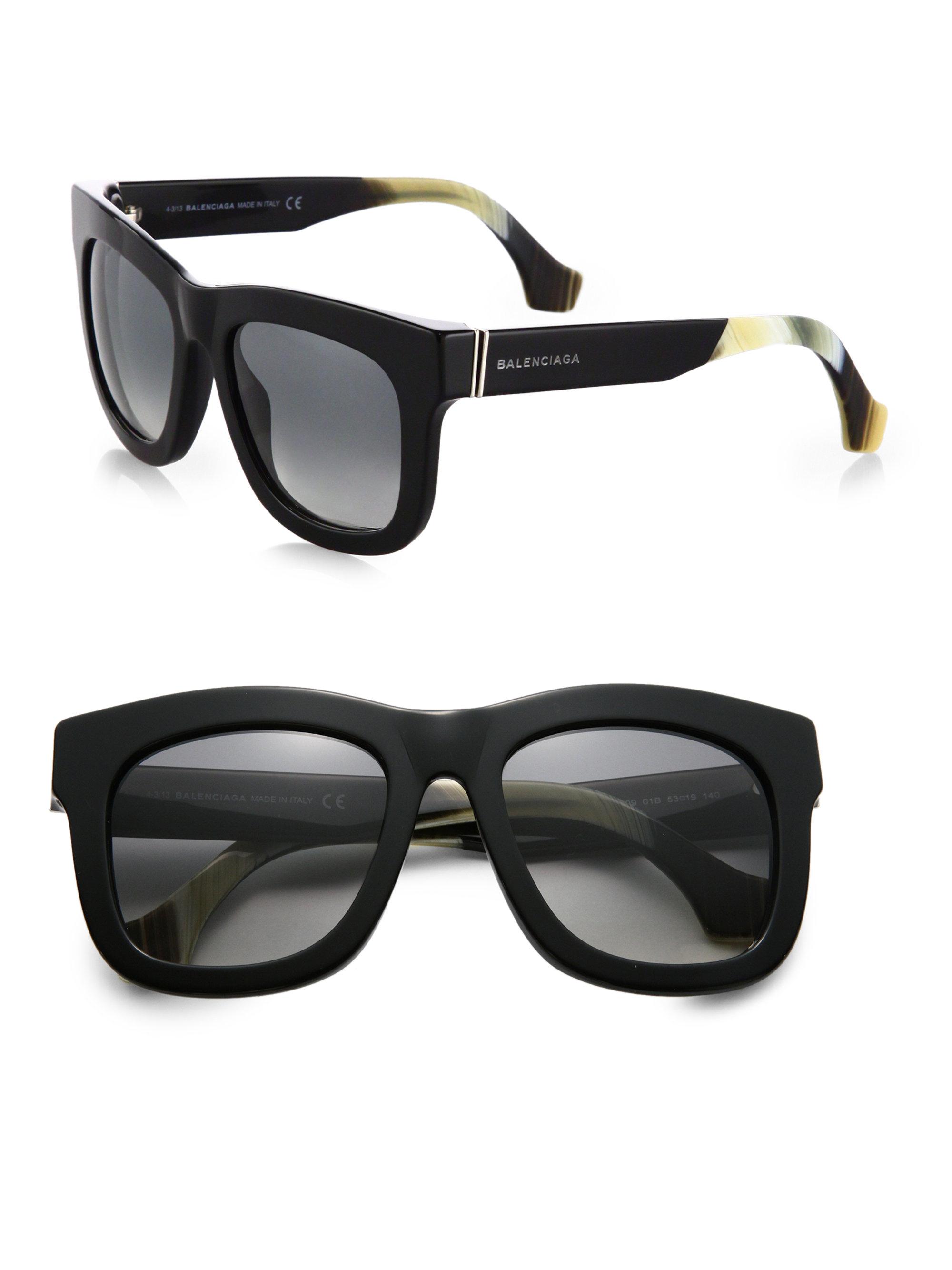 Balenciaga Oversized Square Sunglasses In Black Smoke Lyst