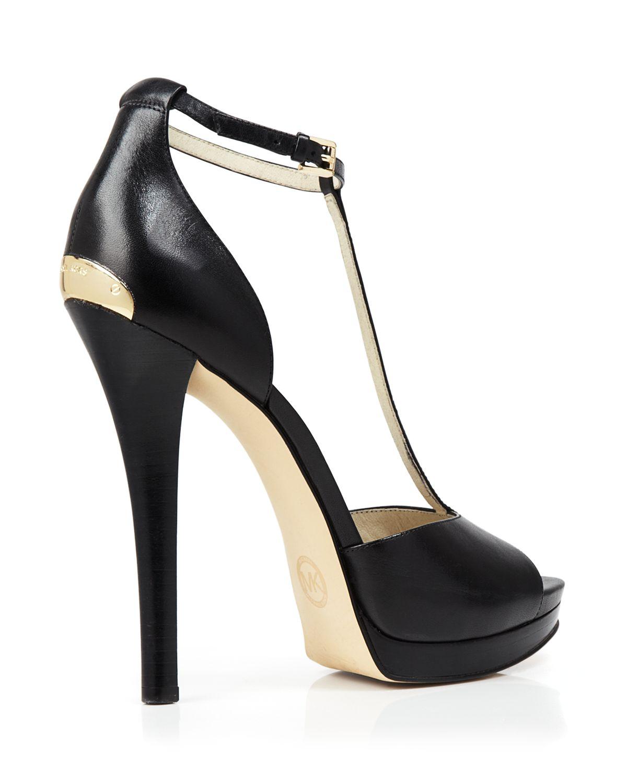 michael michael kors open toe t strap platform sandals bloomingdale 39 s exclusive brenna high. Black Bedroom Furniture Sets. Home Design Ideas