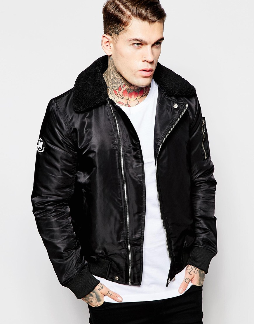 Good for nothing Bomber Jacket With Detachable Collar in Black for ...