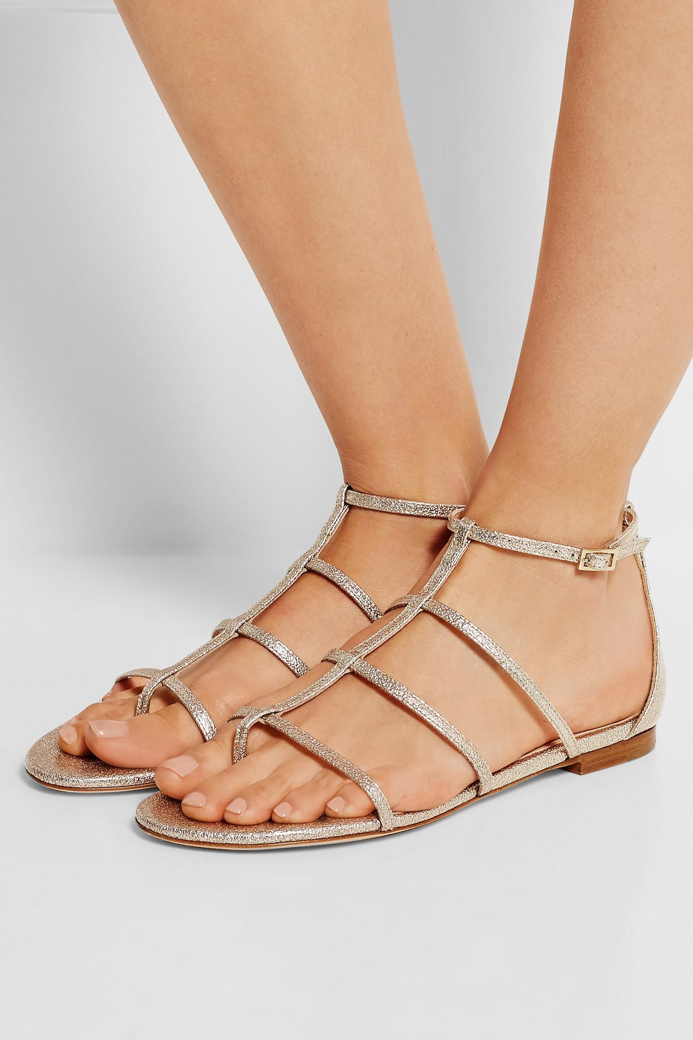 4ccb567f2336 Jimmy Choo Dory Metallic Textured-leather Sandals in Metallic - Lyst