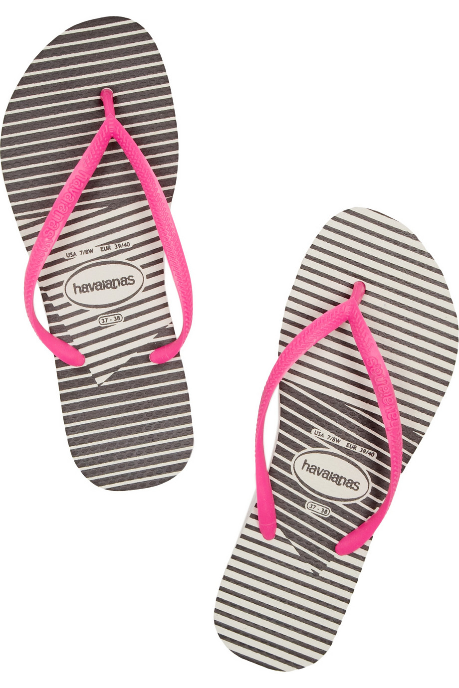 d4abdccd4 Lyst - Havaianas Slim Striped Rubber Flip Flops in Pink
