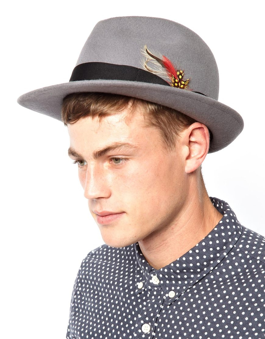 3b2a61fb ASOS Trilby Hat with Feather in Gray for Men - Lyst