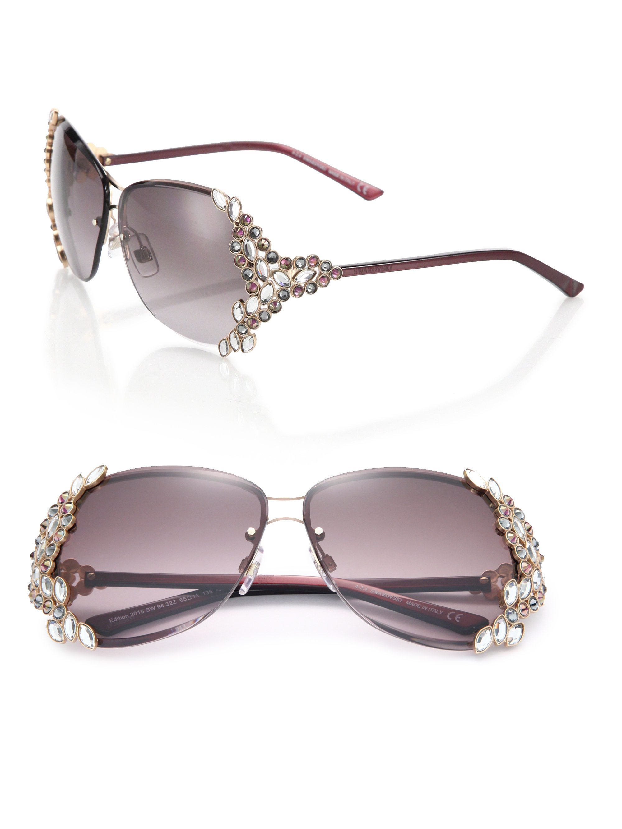a546e52cc5f Lyst - Swarovski Special Edition 65mm Crystal Sunglasses in Black