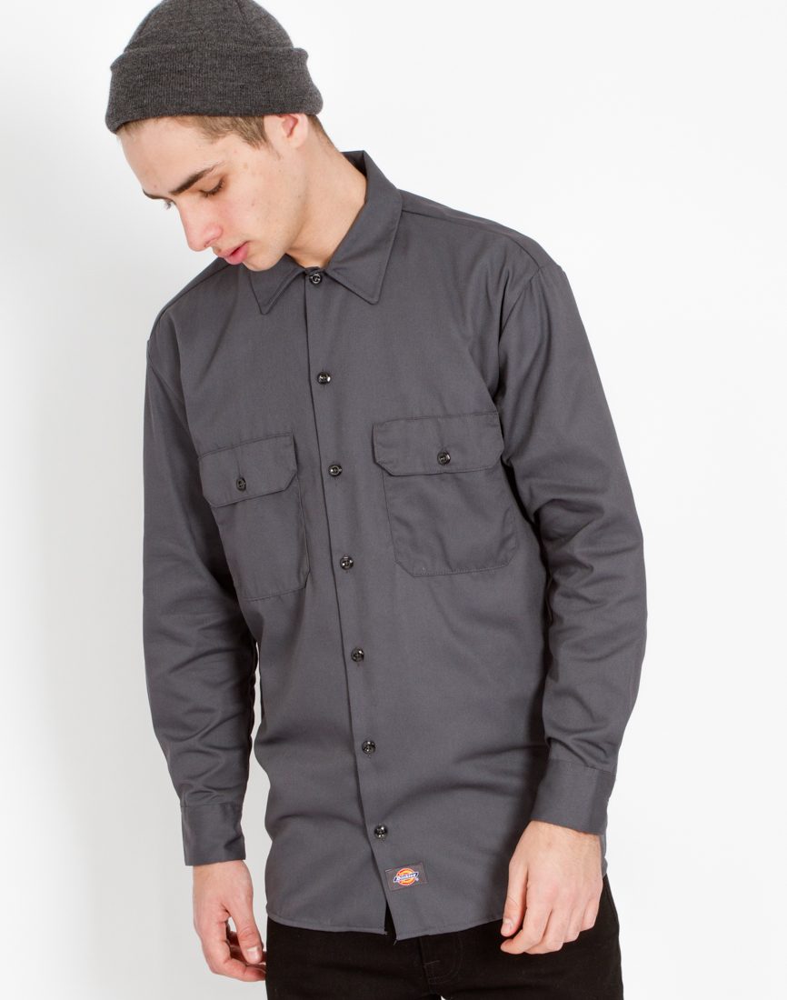 dickies long sleeve work shirt grey in gray for men lyst. Black Bedroom Furniture Sets. Home Design Ideas