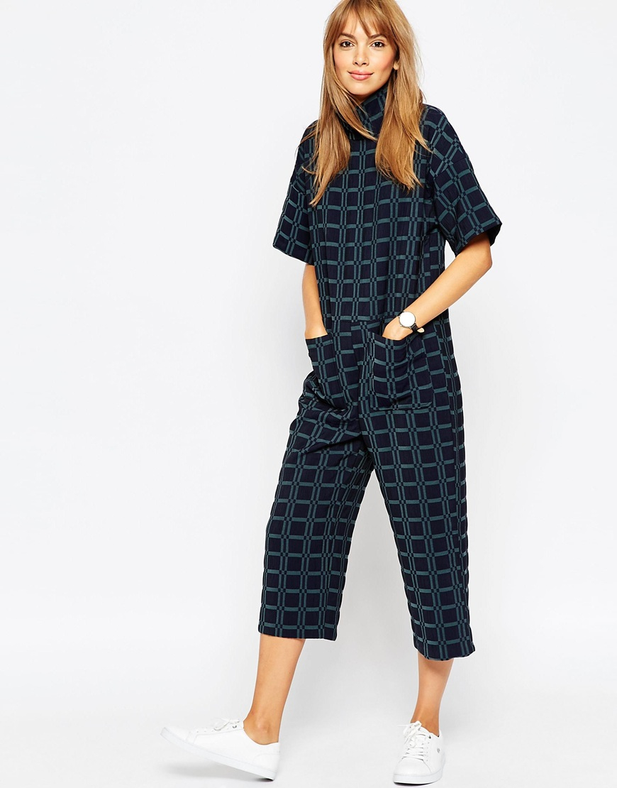 9f8e54e8c82 Lyst - ASOS Jumpsuit In Jacquard With High Neck in Blue