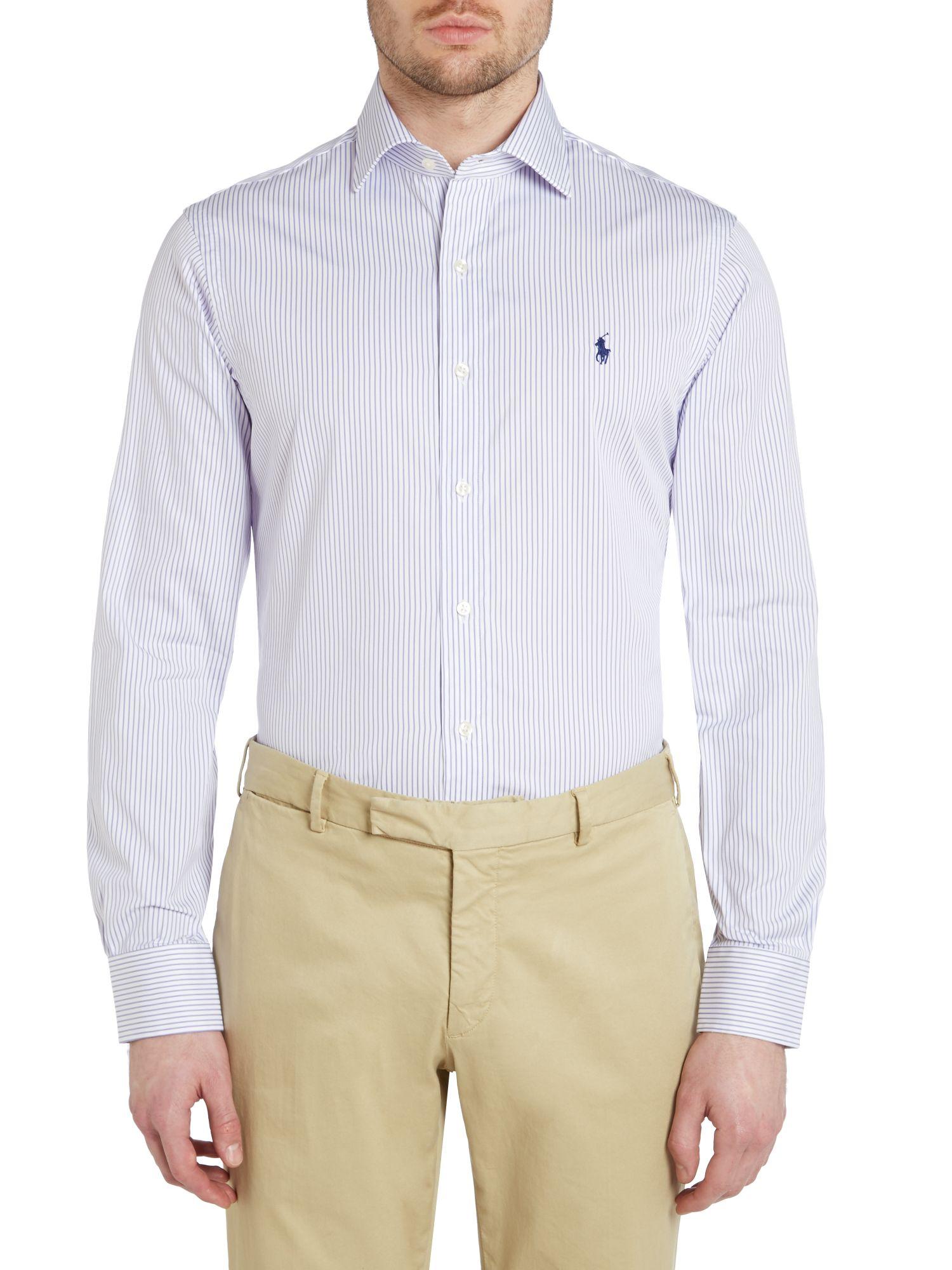Lyst polo ralph lauren long sleeve slim regent stripe for Long sleeve purple polo shirt