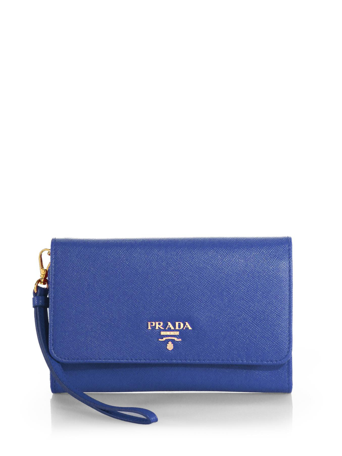 d7e7c099283 ... australia lyst prada saffiano phone wallet with strap in blue c1156  c5f9c