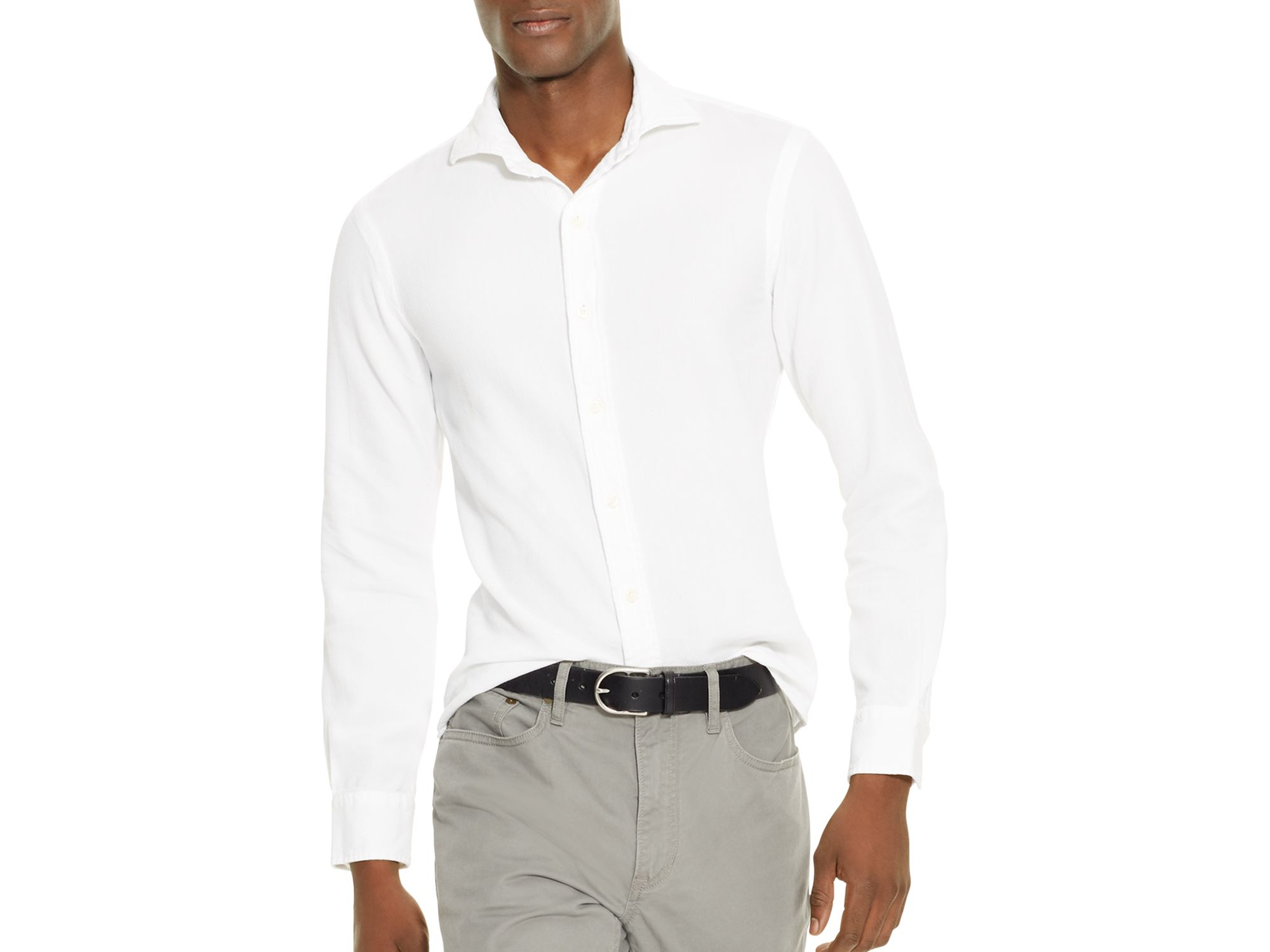 Polo ralph lauren estate slim fit button down shirt in for Slim fit white button down shirt