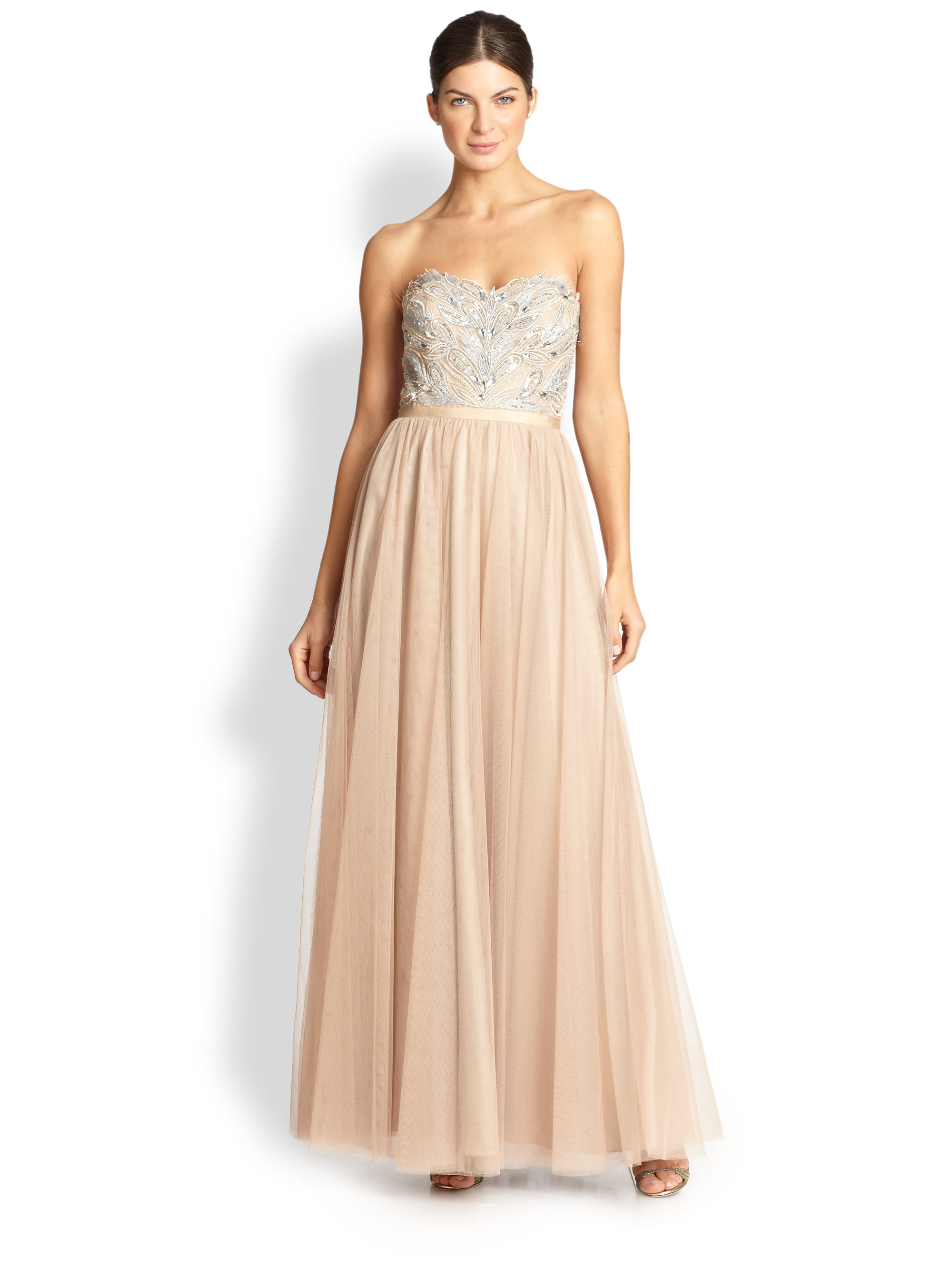 aidan mattox strapless beaded tulle gown in gold lyst