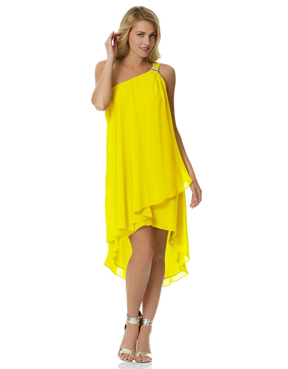 Yellow Chiffon One Shoulder Dresses