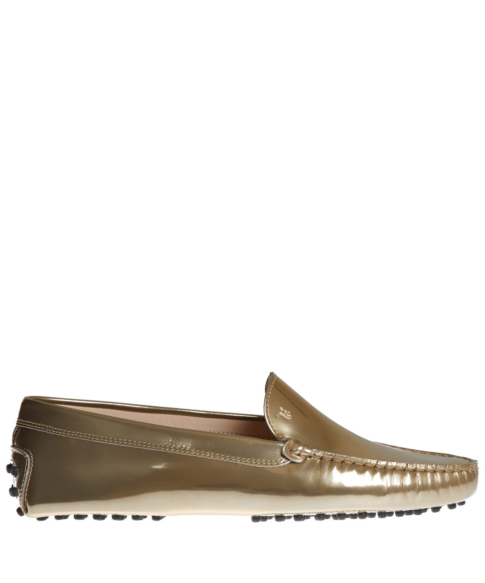 4f26489e680 Lyst - Tod s Gold Gommino Pantofola Leather Driving Loafers in Metallic
