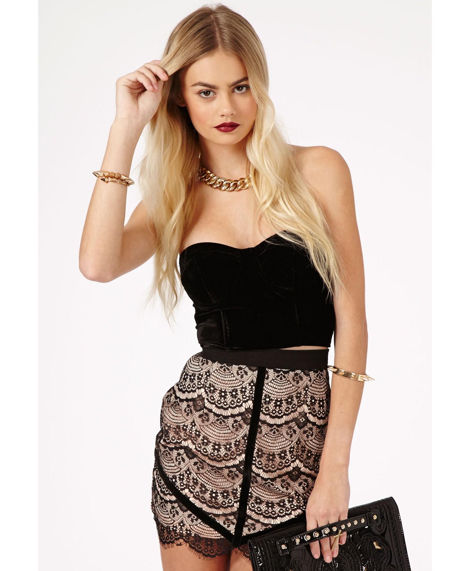 Missguided Braelyn Eyelash Trim Lace Mini Skirt in Black ...
