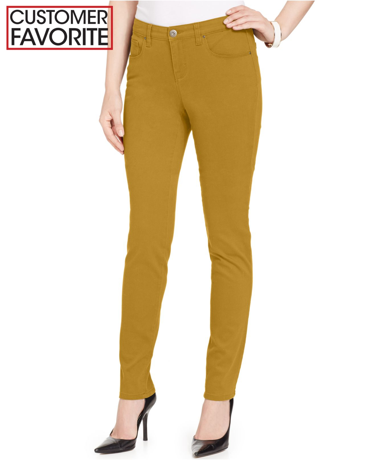 Style Co Skinny Leg Curvy Fit Jeans In Yellow Radiant