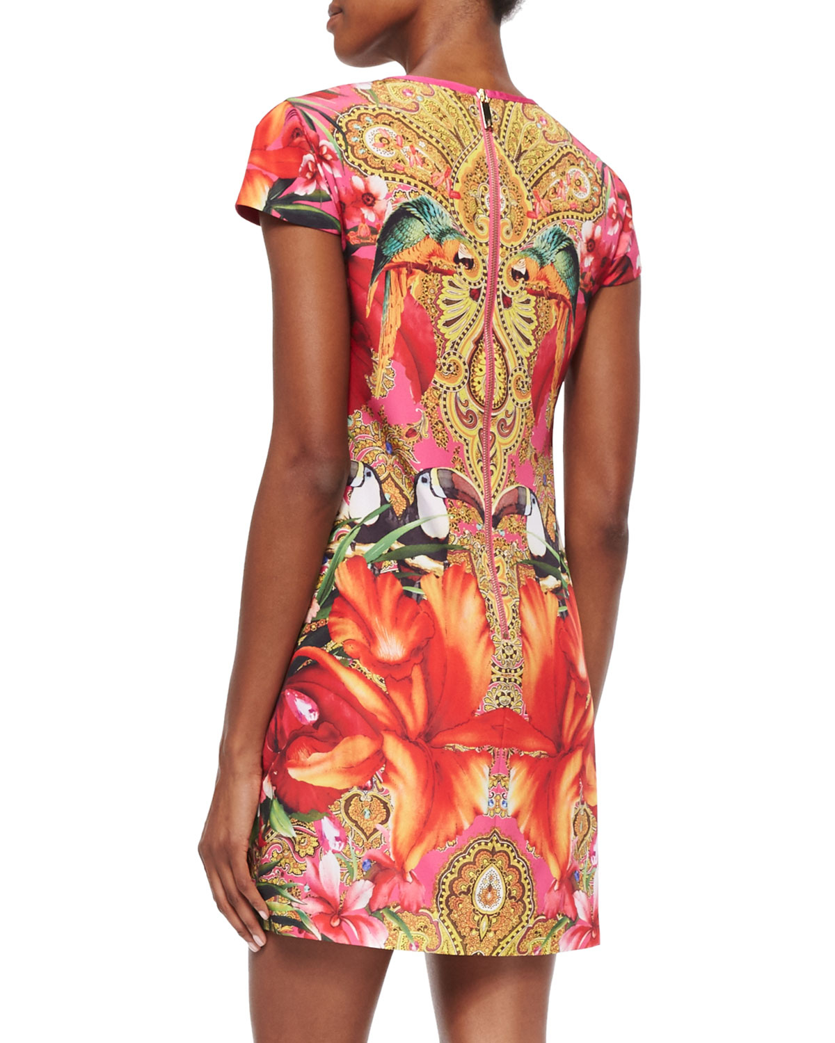 dbbeb8f097e025 Lyst - Ted Baker Paisley Toucan Printed Shift Dress in Red