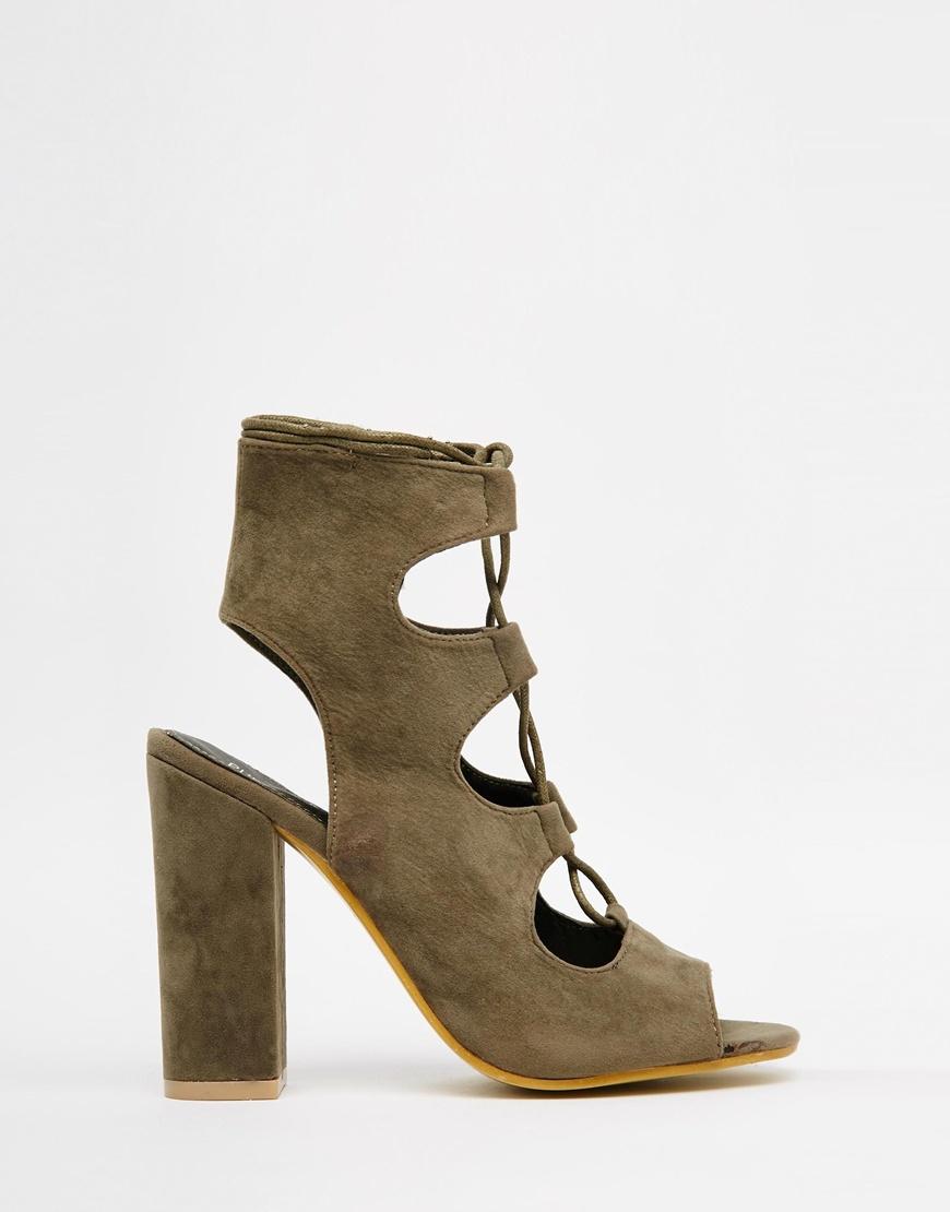 64dce3e0ebc Lyst - Public Desire Faye Khaki Ghillie Block Heeled Sandals in Red