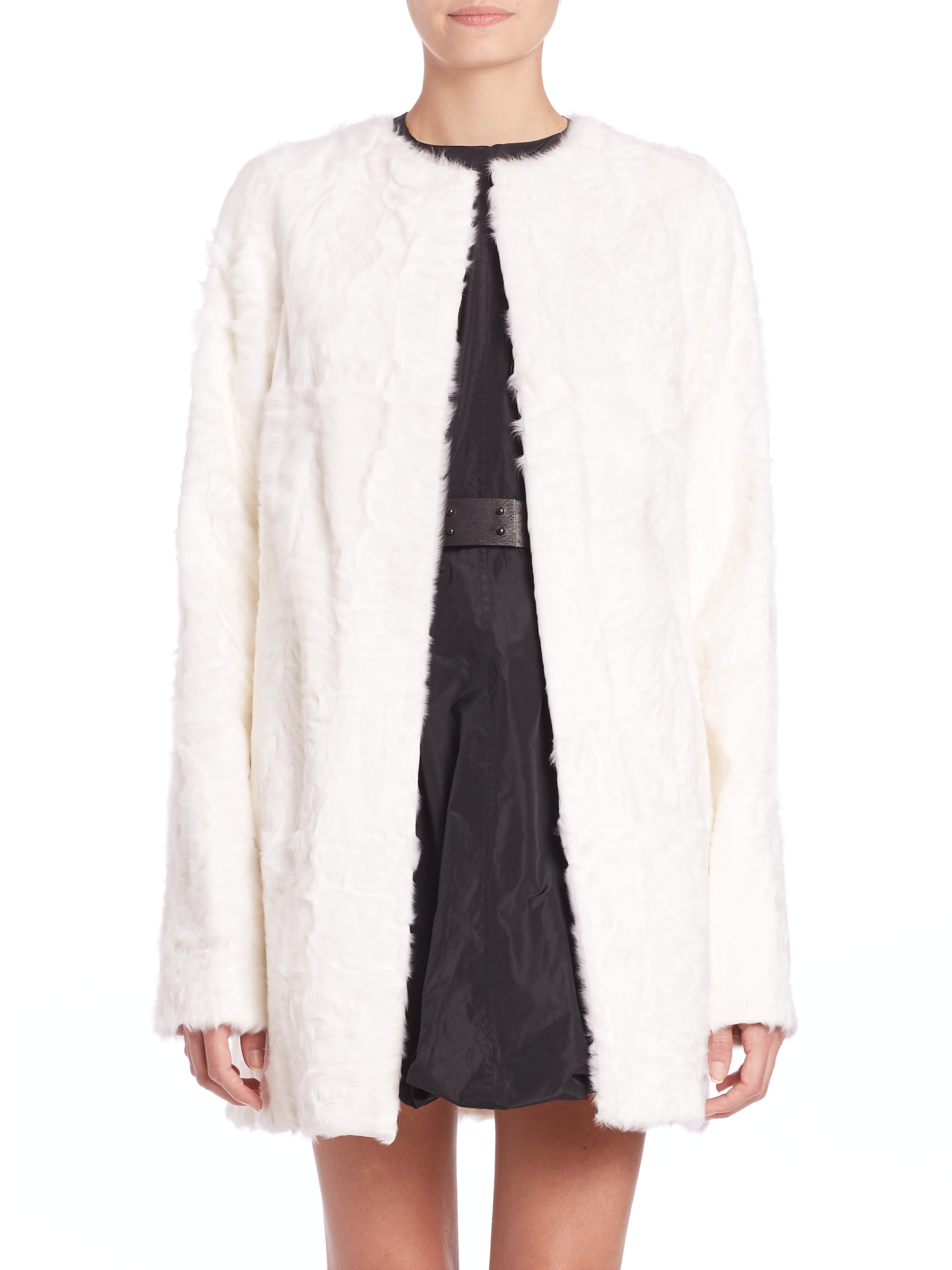 Vera wang Swakara Lamb Fur Coat in White | Lyst